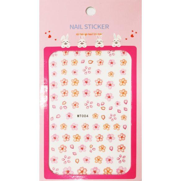 Körömdíszítő matrica - Rózsaszín és Narancssárga Virágok - MT004