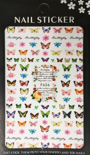 Körömdíszítő matrica - Pillangós - F626