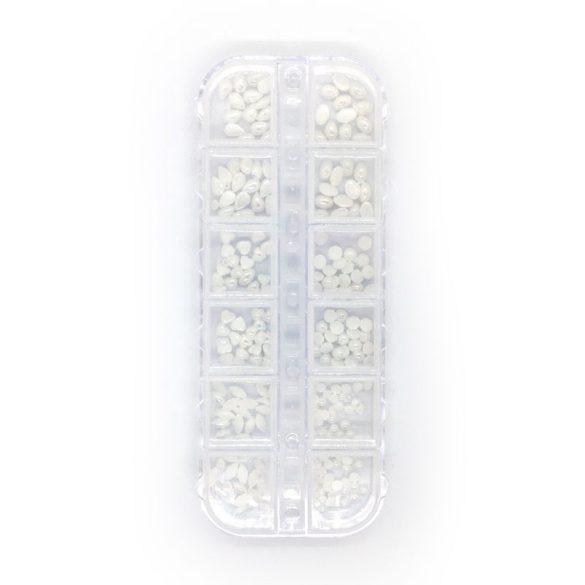 Fehér opál díszítő kő szett + box