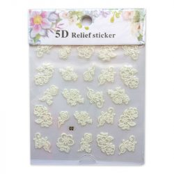Körömdíszítő matrica - 5D - Fehér Csipkevirágok - 02