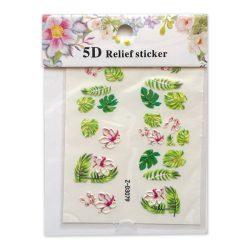 Körömdíszítő matrica - 5D - Dzsungel levelek és Virágok - Z-D3079