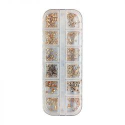 Körömdíszítő szegecs válogatás - Rosegold  (12 féle, műanyag dobozban)