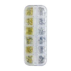Arany-ezüst téglalap alakú körömdíszítő ékszer (műanyag dobozban, 12 féle)