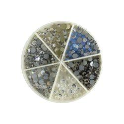Körömdíszítő kő szett tárcsában (6 féle)