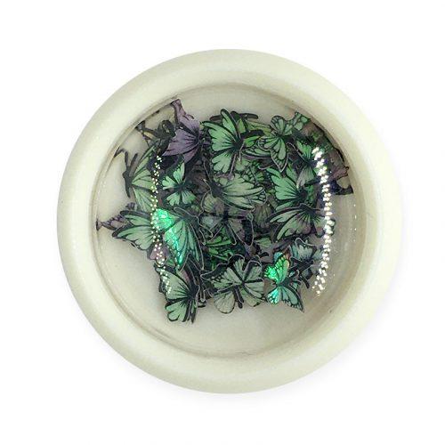 Körömdísz - színes, hologramos pillangók (002)