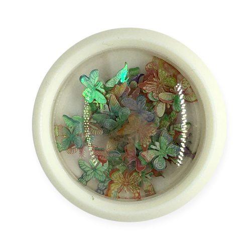 Körömdísz - színes, hologramos pillangók (003)